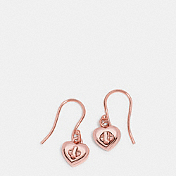 COACH TURNLOCK HEART WIRE EARRING - ROSEGOLD - F54489