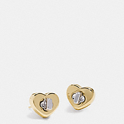COACH TURNLOCK HEART STUD EARRING - GOLD/SILVER - F54490