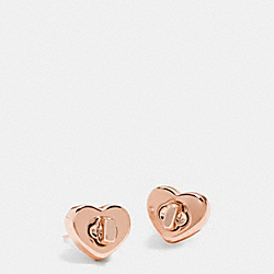 COACH TURNLOCK HEART STUD EARRING - ROSEGOLD - F54490