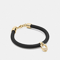 COACH PAVE LEATHER SIGNATURE C BRACELET - GOLD/BLACK - F54496
