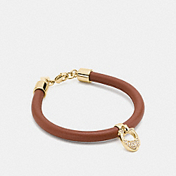 PAVE LEATHER SIGNATURE C BRACELET - GOLD/SADDLE - COACH F54496