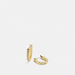 PAVE SIGNATURE HUGGIE EARRINGS - GOLD - COACH F54497