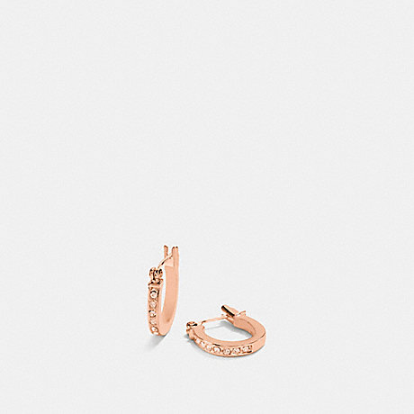 COACH f54497 PAVE SIGNATURE HUGGIE EARRINGS ROSEGOLD