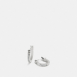 COACH PAVE SIGNATURE HUGGIE EARRINGS - SILVER/BLACK - F54497