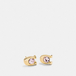 SIGNATURE STONE STUD EARRINGS - GOLD - COACH F54498