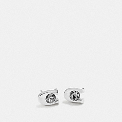 COACH SIGNATURE STONE STUD EARRINGS - BLACK/SILVER - F54498