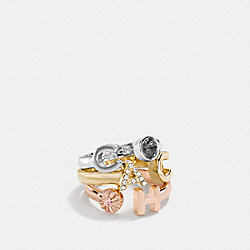 COACH LETTERS RING SET - GOLD/SILVER ROSEGOLD - COACH F54505