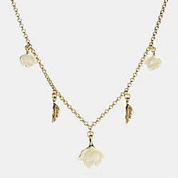 RESIN LEAF AND FLOWER NECKLACE - GOLD - COACH F54507