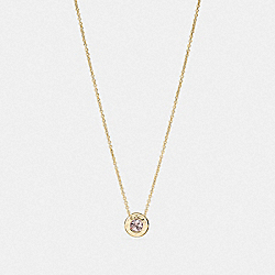 COACH OPEN CIRCLE STONE STRAND NECKLACE - GOLD - F54514