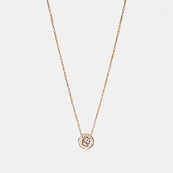 COACH OPEN CIRCLE STONE STRAND NECKLACE - ROSEGOLD - F54514