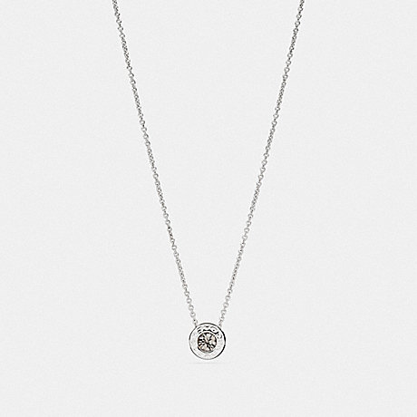 COACH OPEN CIRCLE STONE STRAND NECKLACE - SILVER - F54514