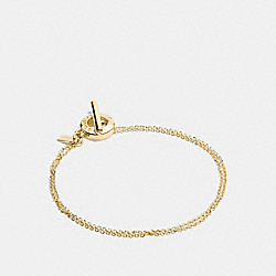 COACH OPEN CIRCLE STONE STRAND BRACELET - GOLD - F54515