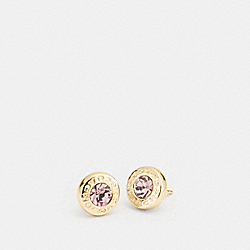 COACH OPEN CIRCLE STONE STRAND EARRINGS - GOLD - F54516