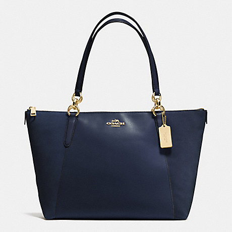 COACH f54579 AVA TOTE IN LEATHER AND SUEDE WITH CROC EMBOSSED LEATHER TRIM IMITATION GOLD/MIDNIGHT
