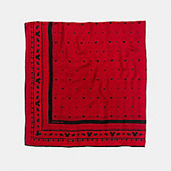 COACH MICKEY OVERSIZED SQUARE SCARF - RED/MULTICOLOR - F54604