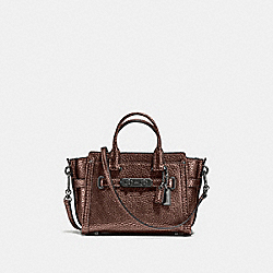 COACH SWAGGER 15 IN PEBBLE LEATHER - f54625 - DARK GUNMETAL/BRONZE