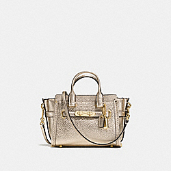 COACH COACH SWAGGER 15 IN PEBBLE LEATHER - PLATINUM - F54625