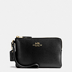 CORNER ZIP WRISTLET IN CROSSGRAIN LEATHER - IMITATION GOLD/BLACK - COACH F54626
