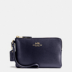 CORNER ZIP WRISTLET IN CROSSGRAIN LEATHER - IMITATION GOLD/MIDNIGHT - COACH F54626