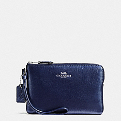 COACH CORNER ZIP WRISTLET IN CROSSGRAIN LEATHER - SILVER/METALLIC MIDNIGHT - F54626