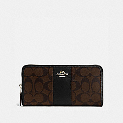 COACH ACCORDION ZIP WALLET IN SIGNATURE COATED CANVAS WITH LEATHER STRIPE - IMITATION GOLD/BROWN/BLACK - F54630