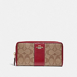 COACH ACCORDION ZIP WALLET IN SIGNATURE CANVAS - KHAKI/CHERRY/LIGHT GOLD - F54630