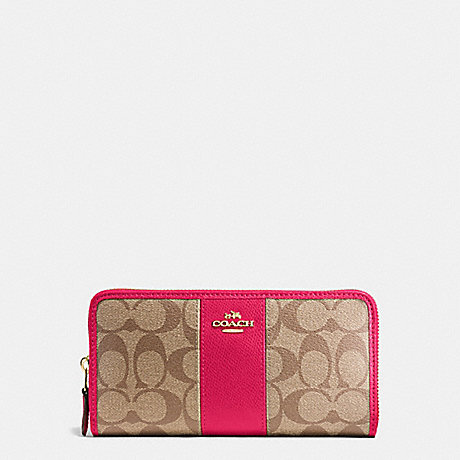 COACH ACCORDION ZIP WALLET IN SIGNATURE COATED CANVAS WITH LEATHER STRIPE - IMITATION GOLD/KHAKI/BRIGHT PINK - f54630