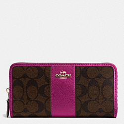 COACH ACCORDION ZIP WALLET IN SIGNATURE COATED CANVAS WITH LEATHER STRIPE - IMITATION GOLD/BROWN/FUCHSIA - F54630