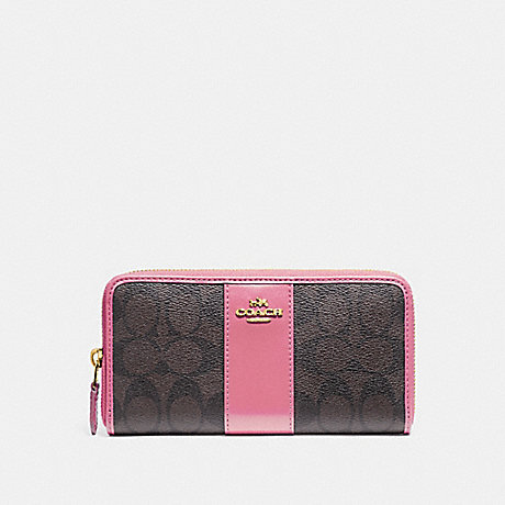 COACH ACCORDION ZIP WALLET IN SIGNATURE CANVAS - BROWN /PINK/LIGHT GOLD - F54630
