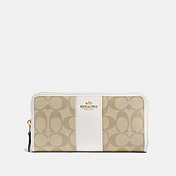 COACH ACCORDION ZIP WALLET IN SIGNATURE CANVAS - LIGHT KHAKI/CHALK/IMITATION GOLD - F54630