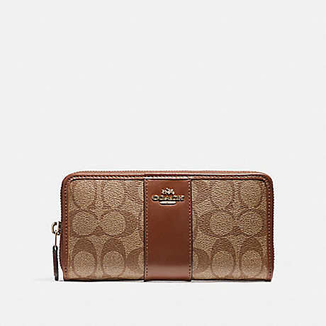 COACH ACCORDION ZIP WALLET IN SIGNATURE COATED CANVAS WITH LEATHER STRIPE - LIGHT GOLD/KHAKI - f54630