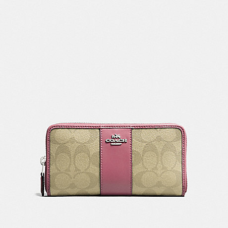 COACH ACCORDION ZIP WALLET IN SIGNATURE CANVAS - light khaki/vintage pink/imitation gold - f54630