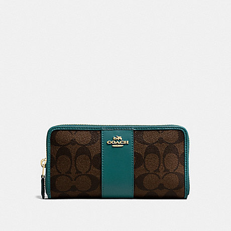 COACH ACCORDION ZIP WALLET IN SIGNATURE CANVAS - BROWN/DARK TURQUOISE/LIGHT GOLD - F54630