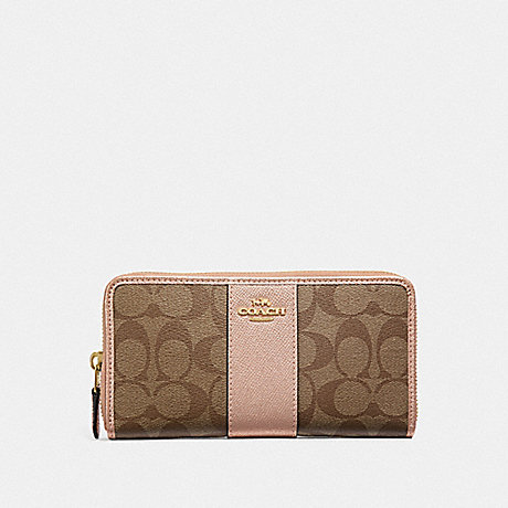 COACH ACCORDION ZIP WALLET IN SIGNATURE CANVAS - KHAKI/ROSE GOLD/LIGHT GOLD - F54630