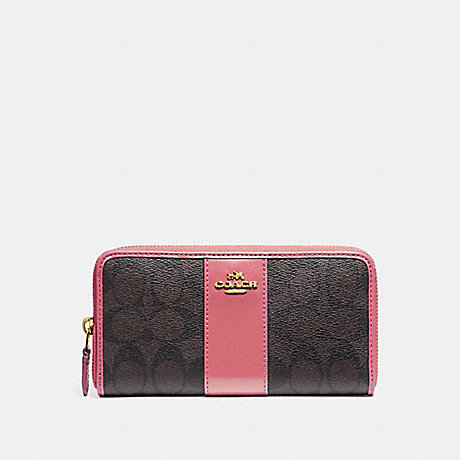 COACH ACCORDION ZIP WALLET IN SIGNATURE CANVAS - BROWN/PEONY/LIGHT GOLD - F54630