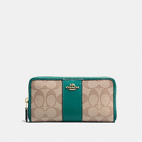 COACH ACCORDION ZIP WALLET IN SIGNATURE CANVAS - KHAKI/DARK TURQUOISE/LIGHT GOLD - F54630