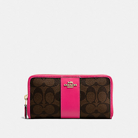 COACH ACCORDION ZIP WALLET IN SIGNATURE CANVAS - BROWN/NEON PINK/LIGHT GOLD - F54630