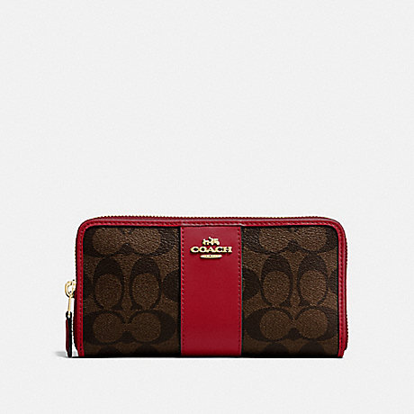 COACH ACCORDION ZIP WALLET IN SIGNATURE CANVAS - BROWN/RUBY/IMITATION GOLD - F54630