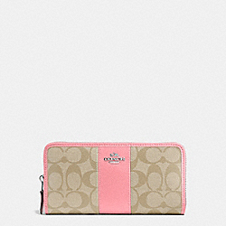 ACCORDION ZIP WALLET IN SIGNATURE COATED CANVAS WITH LEATHER STRIPE - f54630 - SILVER/LIGHT KHAKI/BLUSH