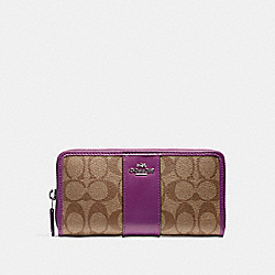 COACH ACCORDION ZIP WALLET - SILVER/KHAKI/BERRY - F54630