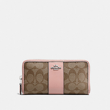 COACH ACCORDION ZIP WALLET IN SIGNATURE CANVAS - KHAKI/PETAL/SILVER - F54630