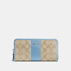 COACH ACCORDION ZIP WALLET IN SIGNATURE COATED CANVAS WITH LEATHER STRIPE - SILVER/LIGHT KHAKI/CORNFLOWER - F54630