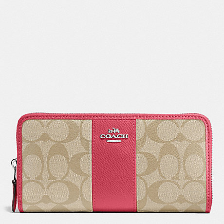 COACH ACCORDION ZIP WALLET IN SIGNATURE COATED CANVAS WITH LEATHER STRIPE - SILVER/LIGHT KHAKI/STRAWBERRY - f54630