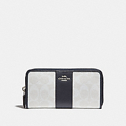 COACH ACCORDION ZIP WALLET IN SIGNATURE CANVAS - chalk/midnight/silver - F54630