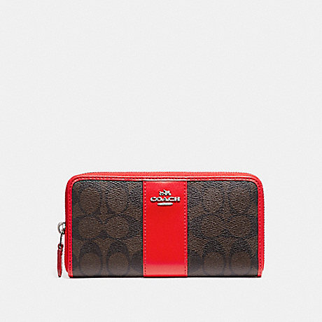 COACH ACCORDION ZIP WALLET IN SIGNATURE COATED CANVAS WITH LEATHER STRIPE - SILVER/BROWN - f54630