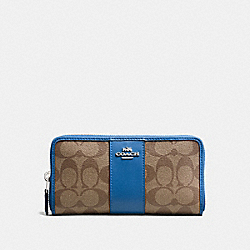 ACCORDION ZIP WALLET IN SIGNATURE COATED CANVAS WITH LEATHER STRIPE - SILVER/KHAKI LAPIS - COACH F54630