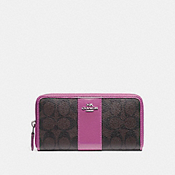 COACH ACCORDION ZIP WALLET IN SIGNATURE CANVAS - brown/Azalea/silver - F54630