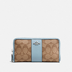 COACH ACCORDION ZIP WALLET IN SIGNATURE CANVAS - khaki/pale blue/silver - F54630