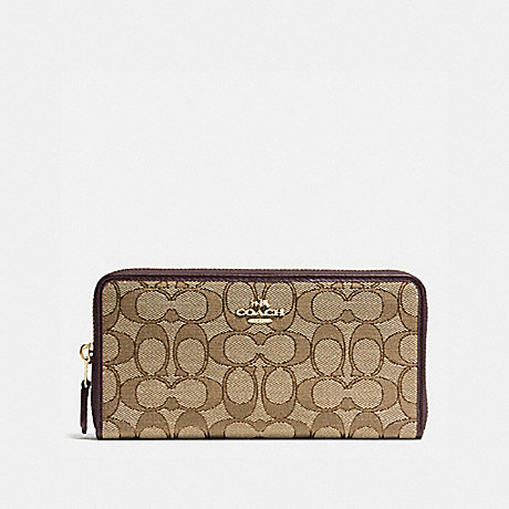 COACH ACCORDION ZIP WALLET - LIGHT GOLD/KHAKI - f54633