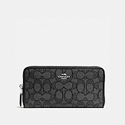 COACH ACCORDION ZIP WALLET - BLACK SMOKE/BLACK/SILVER - F54633